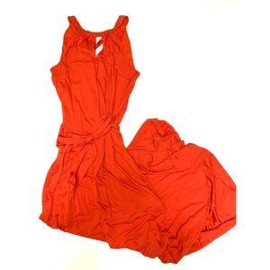 Ann Taylor Medium Halter Maxi Orange Red Dress